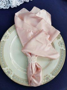 Vintage wedding China. Pink napkins.