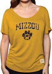 Original Retro Brand Mizzou Tigers Womens Hi Lo Gold Scoop T-Shirt