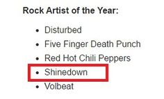 @Shinedown are nominated as Rock Artist of the Year at...