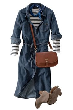Denim dress layed over a striped tee | The Maven from Lands' End