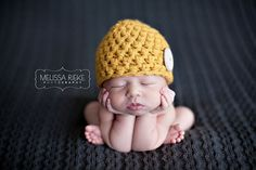 Yellow Newborn Button Baby Hat by Beautiful Photo Props