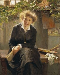 Portrait of the swedish artist Jeanna Bauck, Paris 1881 by Bertha Wegmann (1847-1926)
