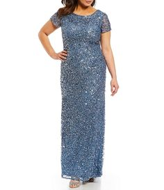 Adrianna Papell Plus Short-Sleeve Sequined Gown Maxi Dresses, Linen Dresses, Bridal Dresses, Elegant Clothing, Vintage Clothing, Ankara Short Gown Styles, Short Gowns, Mother Of The Bride Plus Size, Mother Of The Bride Dresses Long