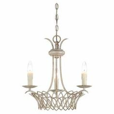 Vintaged white chandelier with a latticed base.   Product: ChandelierConstruction Material: MetalColor: Vintage white Accommodates: (3) 60 Watt B10 incandescent bulbs - not includedDimensions: 17.5 H x 17 Diameter