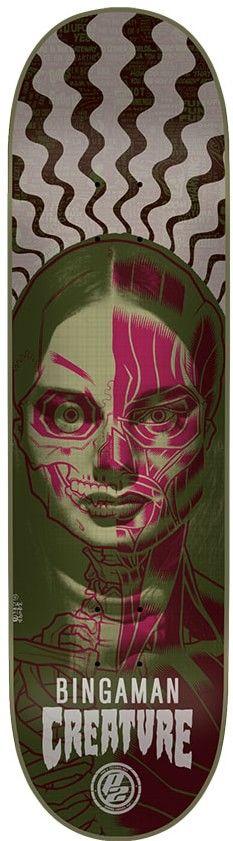Creature Bingaman Anatomy 8.375 P2 Skateboard Deck - olive - Free Shipping