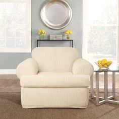 sure fit stretch pinstripe tcushion two piece chair slipcover