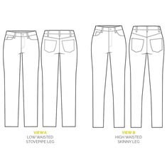 Ginger Jeans pattern // Technical flats // Skinny jeans sewing pattern