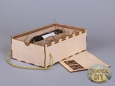 Plywood box-container for wine and two glasses [1] by SiberianDIYcraftsArt on Etsy