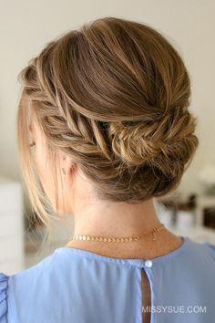 einfache Hochsteckfrisuren, festliche Frisur mit Zöpfen, geflochtene Haare, Haare ...