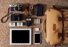 From left to right, - Leica M9-P, 50mm Summarit-M f/1.5 - Head Porter x Carhartt Wallet - Head Porter Key Wallet - Leica M6 Classic, 35mm Summicron-M f/2 ASPH - Vivitar Auto Thyristor 225 - Spare eneloop Batteries - Ilford HP5+ - Apple iPad - iPad Camera Connection Kit - Samsung Galaxy SIII All in a Billingham Hadley Pro.