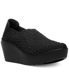 STEVEN by Steve Madden Betsi Woven Wedge Slip On fabric black 2.5h (59.25) 3/16 NA