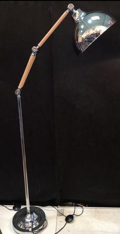 Angle Lever Floor Lamp Retro Vintage Skandi NEW Adjustable Chrome Light Wood Esk in Home, Furniture & DIY, Lighting, Lamps | eBay!