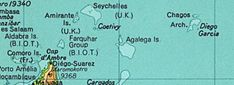 The British Indian Ocean Territory prior to the Seychelles' independence in 1976. The land at bottom left is the northern tip of Madagascar. (Desroches is not labelled, but is a part of the Amirante Islands.)