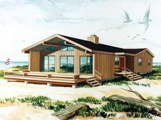 Contemporary-Modern House Plan with 1299 Square Feet and 3 Bedrooms from Dream Home Source | House Plan Code DHSW53977