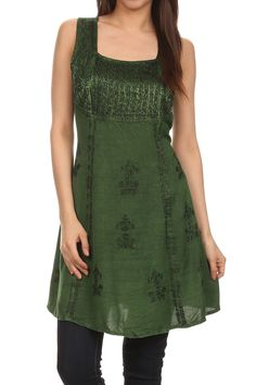 Sakkas Kalee Embroidered Adjustable Sleeveless Tunic Blouse / Short Dress