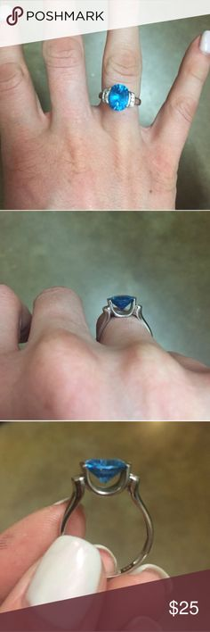 Blue topaz ring- costume jewelry Blue topaz ring. Size 8-8.5, sterling silver. Jewelry Rings