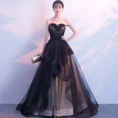 Black strapless celebrity elegant evening dress, A-style long party prom tulle lace dress online shopping