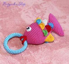 Купить Игрушка - погремушка Рыба моя (мастер-класс) - разноцветный, МК по вязанию