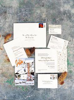 Winter wedding invitations: http://www.stylemepretty.com/2014/12/24/sun-valley-classic-winter-wedding/ | Photography: Patrick Moyer - http://patmoyerweddings.com/