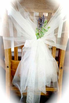Chair decor, tulle & flower for bride's seat
