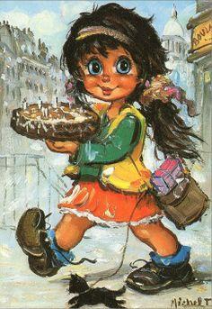 St.Wold ..........  Carolientje heeft een heerlijke taart gehaald bij de bakker ... want morgen is ze jarig...