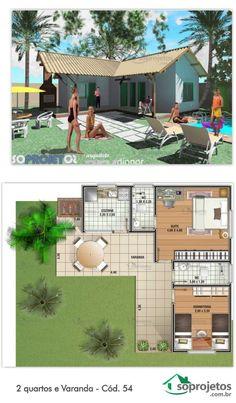 Projeto de casa com 2 dormitórios, sendo uma suíte e uma cozinha. Possui Varanda que integra a casa com o exterior. Telhado em telha de barro.