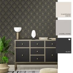 Cleo Geometric Wallpaper Black - Wallpaper from I Love Wallpaper UK Geometric Wallpaper Black, Black Wallpaper, Wallpaper Uk, Pattern Wallpaper, Wall Colors, Colours, New Home Designs, Textured Background, House Design