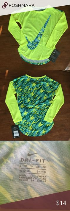 Nike Kids Modern Long Sleeve Graphic T-Shirt * NWT * Designer Color: Volt * Style #: 36B286-364 * Relaxed fit * Shirttail hem * Scoop neck * 100% Polyester, high performance fabric  [Bin: 2] Nike Shirts & Tops Tees - Long Sleeve