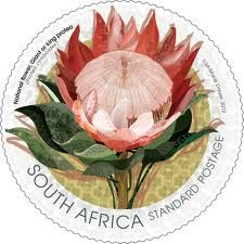 South Africa, National Flower, Giant or King Protea Stamp. Designed by Lize-Marie Dreyer New Africa, Out Of Africa, South Africa, African Symbols, King Protea, Safari, National Symbols, Mail Art, Stamp Collecting
