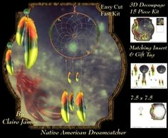 Traditional Native American Dreamcatcher 11   3D Decoupage   Matching Insert   Tag on Craftsuprint - View Now!