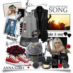 Casual Spring Look by annagiro on Polyvore featuring LE3NO, H&M, Converse, McQ by Alexander McQueen, nOir, Casetify, Chanel and Amy Winehouse