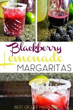 These blackberry lemonade margaritas are full of flavor, but not too sweet, making them the perfect go to cocktail for any afternoon or happy hour. Beste Cocktails, Fun Cocktails, Party Drinks, Cocktail Recipes, Summer Drinks, Drink Recipes, Birthday Drinks, Dessert Drinks, Refreshing Drinks