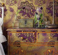 wallpapered furniture. Gorgeous