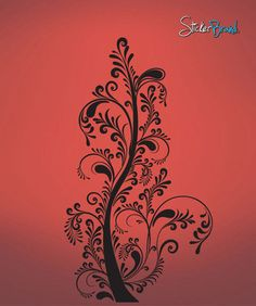 Vinyl Wall Decal Sticker Swirl Tree #509