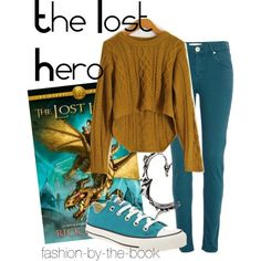 Outfit inspired by The Lost Hero by Rick Riordan (The Heroes of Olympus series)maybe camel colored shoes Percy Jackson Outfits, Percy Jackson Fandom, The Lost Hero, Tio Rick, Character Inspired Outfits, Fandom Fashion, Fandom Outfits, Heroes Of Olympus, Rick Riordan