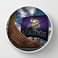 Wall Clock featuring Viking Ship by gypsykissphotography