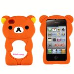 3D Rilakkuma Bear Soft Protective Silicone Jelly Case for iPhone 4 4S - Orange