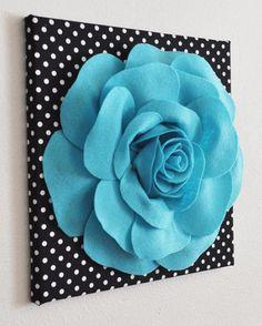 """Flower Wall Decor- Light Turquoise Rose on Black and White Polka Dot 12 x12"""" Canvas Wall Art- 3D Felt Flower"""