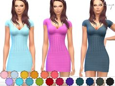 This knit dress with a V-neck, cap sleeves. 20 different colors.  Found in TSR Category 'Sims 4 Female Everyday'