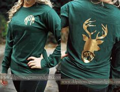 PERSONALIZED FULL BACK GLITTER INITIAL DEER HEAD LONG SLEEVE SHIRT