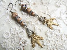 winter basket earrings religious assemblage by lilyofthevally