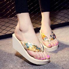 VTOTA Summer Women Flip Flops Slippers Outside Print Floral Wedge Platform  Flip Flops Shoes Beach Casual 5be3cf94ce90