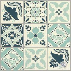 "Our Ceramic Tiles Trompe L'oeil Wall Stencil includes six 6"" square tiles to create an allover wall mural stencil pattern, plus fallouts for trompe l'oeil shadi"