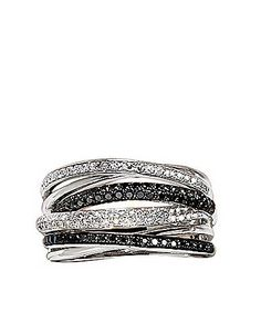 Black and White Diamond Ring in14 Kt. White Gold, .56 ct. t.w.   Lord and Taylor