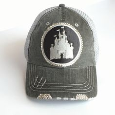 Disney Baseball Cap, Trucker Hat, Disney, Real Swarovski Crystal, Womens Fitted Baseball Cap, Disney Castle Hat, Disney Castle, Disney Women by Elivata on Etsy https://www.etsy.com/listing/399102189/disney-baseball-cap-trucker-hat-disney