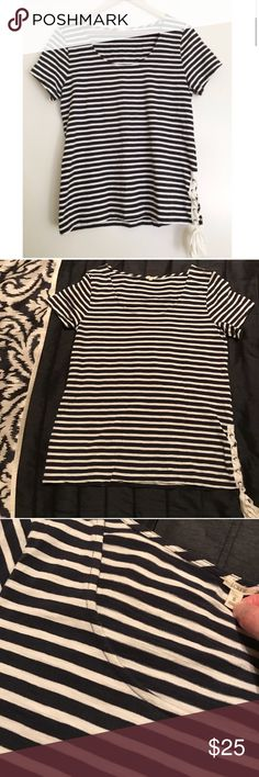 "J. Crew striped tee lace up side tie Excellent condition with no flaws to note - no pilling. Nautical tee with unique lace up detail on one side. Materials tag has been removed but it feels like cotton.  Bust approx 18.5"" flat, length 25"" // this item is cross listed J. Crew Tops Tees - Short Sleeve"