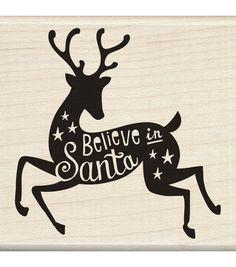 Inkadinkado® Mounted Rubber Stamp-Believe In Santa