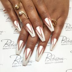 White nails with negative space, photo by blossombeautylounge on Instagram