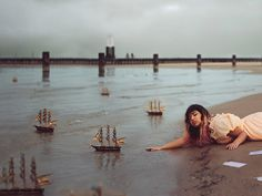 """""""The Captains Wife"""" and """"Sinking Captain"""" by Kyle Thompson Human Photography, Surrealism Photography, Conceptual Photography, Artistic Photography, Photography Photos, Kyle Thompson, Character And Setting, Black White Art, Ocean Themes"""