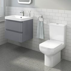 Short Projection Toilet & 600mm Denver II Wall Hung Vanity Unit - Gloss Grey - soak.com